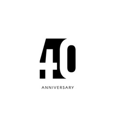 Forty anniversary minimalistic logo fortieth vector