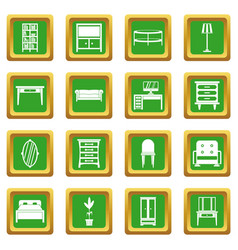 furniture icons set green vector image