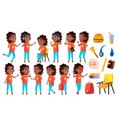 Girl schoolgirl kid poses set black afro vector