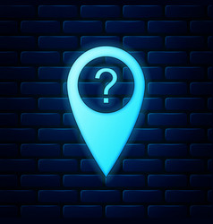 glowing neon map pointer with question symbol icon vector image