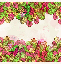 hand drawn seamless pink and green pattern vector image