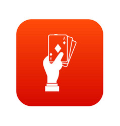 hand holding playing cards icon digital red vector image