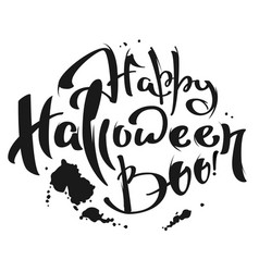 Happy halloween boo lettering text for greeting vector