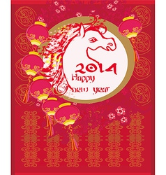 Happy new year 2014 Year of horse vector