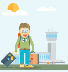 holiday for businessman man with travel bag vector image
