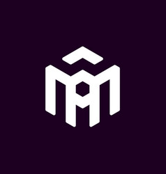 Initial letter a m logo template with hexagonal vector