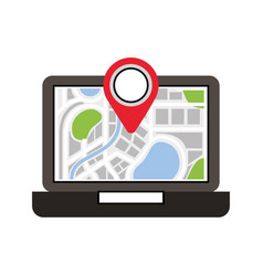 laptop application technology navigation pin map vector image