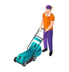 Lawnmower icon isometric style vector