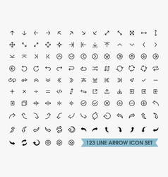 line arrow icons set vector image