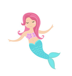 Little mermaid icon flat style mythical sea vector