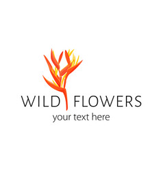 Logo with heliconia simple sign for flower vector