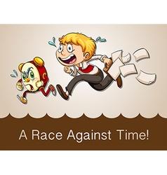 Man racing against clock vector
