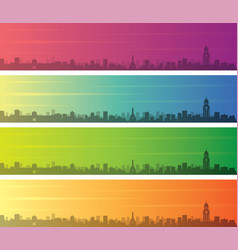 Manila multiple color gradient skyline banner vector