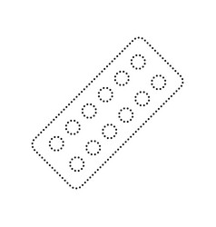 medical pills sign black dotted icon on vector image