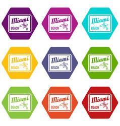 miami beach icon set color hexahedron vector image