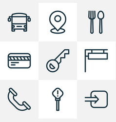 navigation icons line style set with call way in vector image