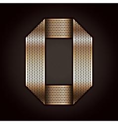 Number metal gold ribbon - 0 - zero vector image