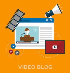 Online video blog design concept set with blogger vector image