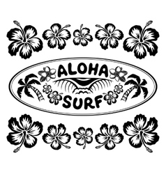 Oval surfing style label with sign Aloha Surf and vector image
