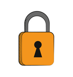 Padlock security system technology vector