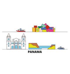 Panama flat landmarks panama vector