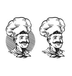 Portrait of happy chef Element for design menu vector image