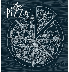 Poster love pizza blue vector image