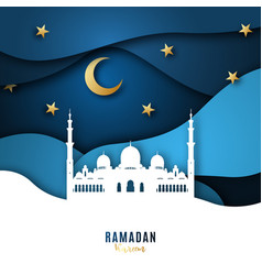 ramadan kareem paper art background with mosque vector image
