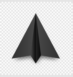 Realistic black handmade paper plane isolated vector