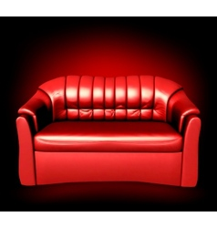 Red leather sofa vector