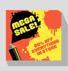 Retro sale banner template with spray paint can vector