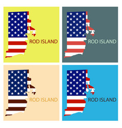 Rod islands state of america with map flag print vector