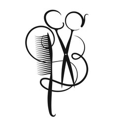 Scissors and hair curl with hair vector