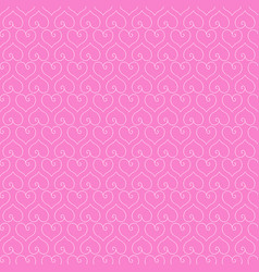 seamless pink background with white hearts vector image