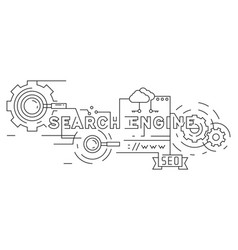 search engine optimization flat line design vector image