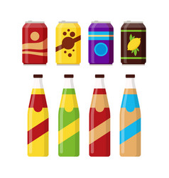 set of colorful soft drinks in glass bottle and vector image