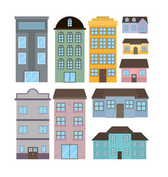 set of houses and buildings vector image