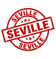 Seville red round grunge stamp vector