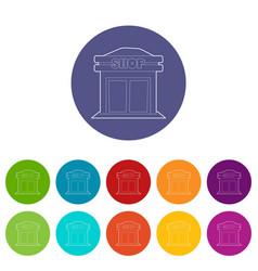 shop icons set color vector image