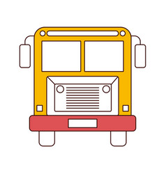 silhouette color sections of front view school bus vector image