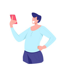 Smiling and surprised man looking smartphone vector