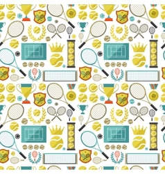 Sports seamless pattern with tennis icons in flat vector image