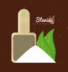 stevia natural sweetener leaves and spoon vector image