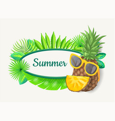 summer banner with pineapple green palm tree vector image