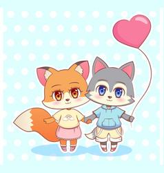 sweet little cute kawaii anime cartoon puppy fox vector image