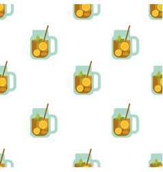 tea with lemon seamless pattern on white vector image