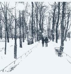 The avenue of trees in the winter park vector