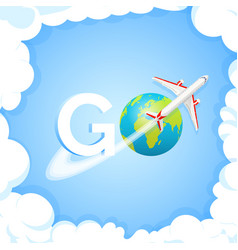 travel concept word go at blue background with vector image