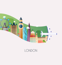 travel to london traveling on airplane planning a vector image