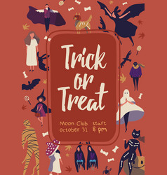 trick or treat flat poster template vector image